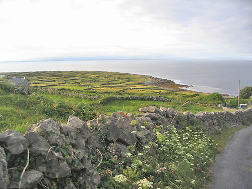 File image of a road, stone wall, fields and seascape on Inis Mór in the Aran Islands