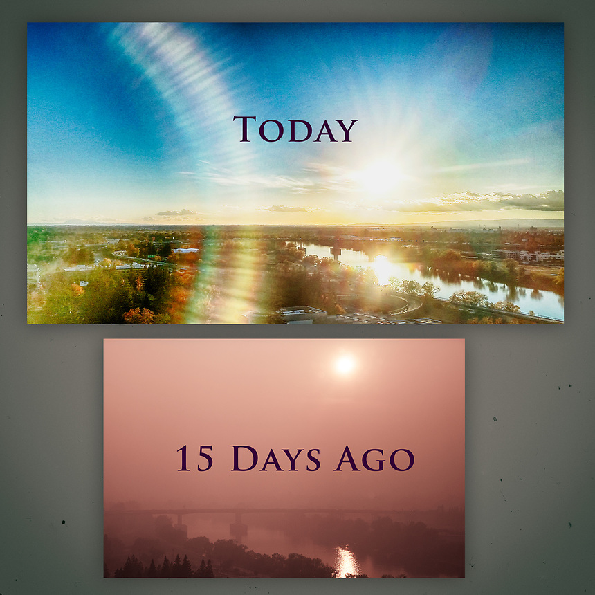 Nature has a way of healing itself. The photo below was taken fifteen days ago (Photoblog 28). The smoky haze was the result of fires a few miles north of Sacramento. After a few days of rain, I took the same shot today, and the image above tells a different story: a story of stillness and calm.