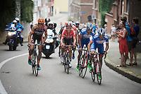Bjorn Leukemans (BEL/Wanty-Groupe Gobert), Marco Marcato (ITA/Wanty-Groupe Gobert), Vegard Breen (NOR/Lotto-Soudal) & Wout Van Aert (BEL/Vastgoedservice-Golden Palace) are in the decisive breakaway formation around the city of Leuven<br /> <br /> GP Jef Scherens 2015