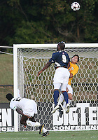 04 September 2009: Bright Dike #9 of the University of Notre Dame crashes into Akira Fitzgerald #1 of Wake Forest University during an Adidas Soccer Classic match at the University of Indiana in Bloomington, In. The game ended in a 1-1 tie..