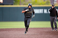 Vanderbilt Commodores third baseman Jayson Gonzalez (99) rounds the bases after hitting a home run against the Tennessee Volunteers on Robert M. Lindsay Field at Lindsey Nelson Stadium on April 16, 2021, in Knoxville, Tennessee. (Danny Parker/Four Seam Images)