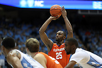 CHAPEL HILL, NC - JANUARY 11: Aamir Simms #25 of Clemson University shoots a free throw during a game between Clemson and North Carolina at Dean E. Smith Center on January 11, 2020 in Chapel Hill, North Carolina.