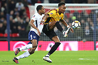 Shawn McCoulsky of Newport County is challenged by Kyle Walker-Peters of Tottenham Hotspur during the Fly Emirates FA Cup Fourth Round Replay match between Tottenham Hotspur and Newport County at Wembley Stadium, London, England, UK. 07 February 2018