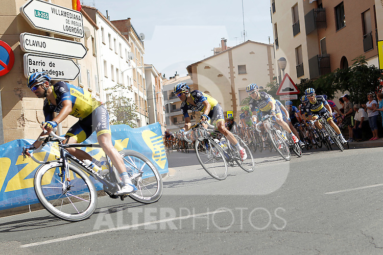Benjamin Noval and Alberto Contador leading the group during the stage of La Vuelta 2012 between Logroño and Logroño.August 22,2012. (ALTERPHOTOS/Acero)