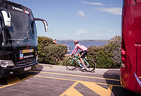 Maglia Rosa / overall leader Primoz Roglic (SVK/Jumbo-Visma) on his way to the sign-on podium in Orbetello<br /> <br /> Stage 4: Orbetello to Frascati (228km)<br /> 102nd Giro d'Italia 2019<br /> <br /> ©kramon