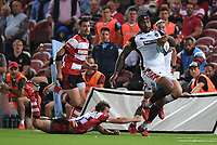 24th September 2021;  Kingsholm Stadium, Gloucester, England; Gallaher Premiership Rugby, Gloucester Rugby versus Leicester Tigers: Nemani Nadolo of Leicester Tigers evades the tackle from Lloyd Evans of Gloucester