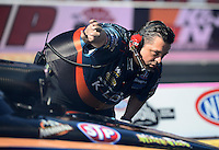 Oct. 27, 2012; Las Vegas, NV, USA: NHRA crew chief for funny car driver Tony Pedregon during qualifying for the Big O Tires Nationals at The Strip in Las Vegas. Mandatory Credit: Mark J. Rebilas-