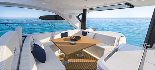 The Gran Turismo 45 hard-top has been completely redesigned to include much larger side windows that provide fabulous views of the open sea