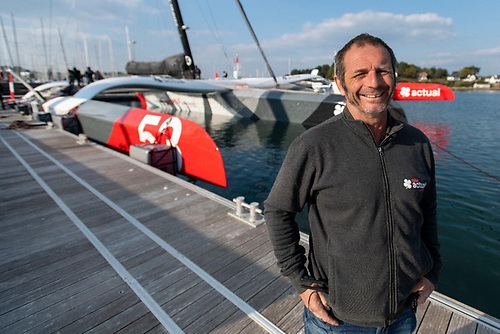 Actual Ultim 3's skipper Yves Le Blevec has already tasted victory in the 2015 Rolex Fastnet Race when he was on board Nicolas Groleau's Bretagne Telecom, winner of the IRC Canting Keel class Photo: Ronan Gladu