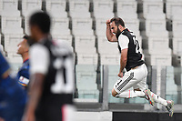 Gonzalo Higuain of Juventus celebrates after scoring the goal of 3-0 during the Serie A football match between Juventus FC and US Lecce at Juventus stadium in Turin  ( Italy ), June 26th, 2020. Play resumes behind closed doors following the outbreak of the coronavirus disease. Photo Andrea Staccioli / Insidefoto