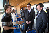 PQ MNAs Bernard Drainville and Pierre-Karl Peladeau chat with a young supporter during the presentation of parti Quebecois candidates for the upcoming byelection Tuesday May 5, 2015.<br /> <br /> PHOTO :  Francis Vachon - Agence Quebec Presse