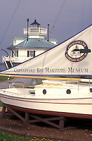 AJ1109, Maryland, Chesapeake Bay Maritime Museum, St. Michaels, Historic boat display and Hooper Strait Lighthouse at the Chesapeake Bay Maritime Museum in St. Michaels on the Chesapeake Bay in Maryla