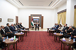 Palestinian President Mahmoud Abbas meets with heads of Palestinian universities in the West Bank city of Ramallah on September 21, 2021. Photo by Thaer Ganaim