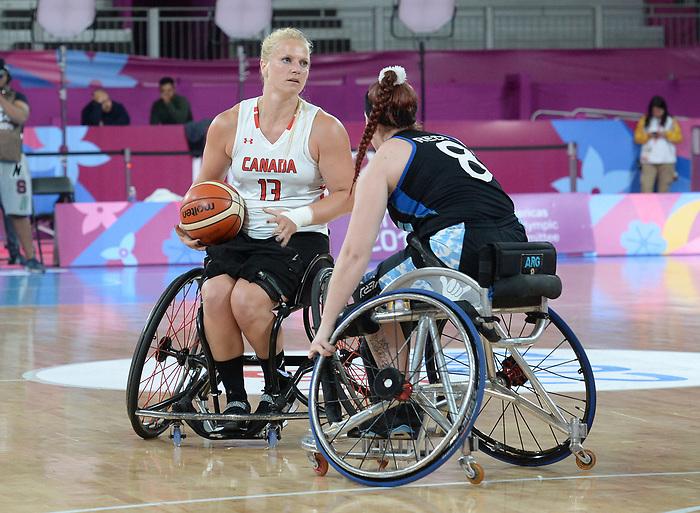 Kady Dandeneau, Lima 2019 - Wheelchair Basketball // Basketball en fauteuil roulant.<br /> Women's wheelchair basketball competes against Argentina // Le basketball en fauteuil roulant féminin contre Argentine. 25/08/2019.
