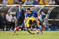 Brazil defender Felipe Luis (6) is founded by Ecuador player during second half of Copa America Centenario match, in Pasadena, CA. Saturday, Jun 04, 2016. Brazil and Ecuador draw 0-0. (TFV Media via AP) *Mandatory Credit*