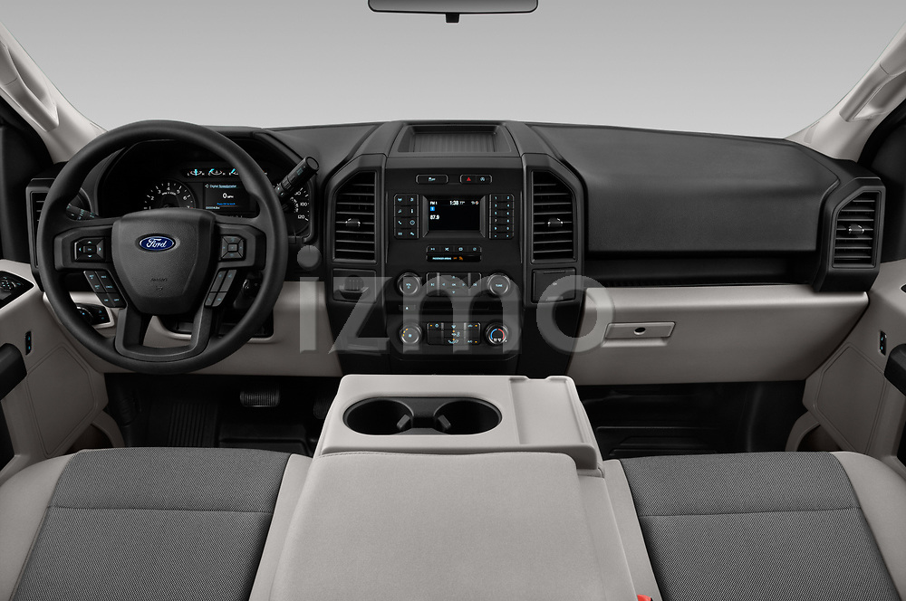 Stock photo of straight dashboard view of a 2018 Ford F-150 XLT 4 Door Pick Up