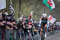 Stijn Vandenbergh (BEL/AG2R La Mondiale) is the first rider exiting the infamous 'Arenberg Forest' / 'Bois de Wallers' <br /> <br /> 117th Paris-Roubaix (1.UWT)<br /> 1 Day Race: Compiègne-Roubaix (257km)<br /> <br /> ©kramon