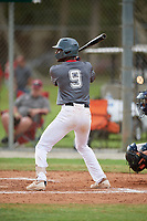 Calvert Clark (9) during the WWBA World Championship at the Roger Dean Complex on October 12, 2019 in Jupiter, Florida.  Calvert Clark attends Charlotte Christian High School in Charlotte, NC and is committed to Clemson.  (Mike Janes/Four Seam Images)
