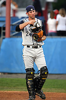 August 1 2008:  Catcher Mark Carver (24) of the State College Spikes, Class-A affiliate of the Pittsburgh Pirates, during a game at Dwyer Stadium in Batavia, NY.  Photo by:  Mike Janes/Four Seam Images