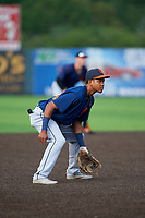 Connecticut Tigers third baseman Jose King (56) during a NY-Penn League game against the Auburn Doubledays on July 12, 2019 at Falcon Park in Auburn, New York.  Auburn defeated Connecticut 7-5.  (Mike Janes/Four Seam Images)