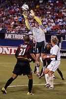 MetroStars' goalkeeper Jonny Walker intercepts a corner kick. The Colorado Rapids defeated the NY/NJ MetroStars 3 to 2 at Giant's Stadium, East Rutherford, NJ, on June 30, 2004.