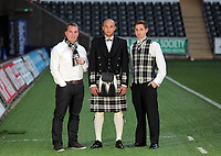 Pictured L-R:  Manager Brendan Rodgers, Jazz Richards and Joe Allen with welsh tartan outfits, at the Liberty Stadium, Swansea south Wales. Thursday 02 december 2011