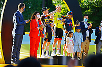 18th July 2021; Paris, France;  VINGEGAARD Jonas (DEN) of JUMBO-VISMA, POGACAR Tadej (SLO) of UAE TEAM EMIRATES and CARAPAZ Richard (ECU) of INEOS GRENADIERS podium during stage 21 of the 108th edition of the 2021 Tour de France cycling race, the stage of 108,4 kms between Chatou and finish at the Champs Elysees in Paris.