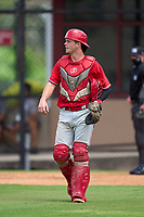 Philadelphia Phillies catcher Chris Burke (4) during an Extended Spring Training game against the New York Yankees on June 22, 2021 at the Carpenter Complex in Clearwater, Florida. (Mike Janes/Four Seam Images)