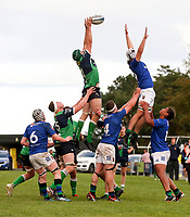 Saturday 10th October 2020 | Ballynahinch vs Queens<br /> <br /> Thomas Donnan beats David Whitten to this ball during the Energia Community Series clash between Ballynahinch and Queens at Ballymacarn Park, Ballynahinch, County Down, Northern Ireland. Photo by John Dickson / Dicksondigital