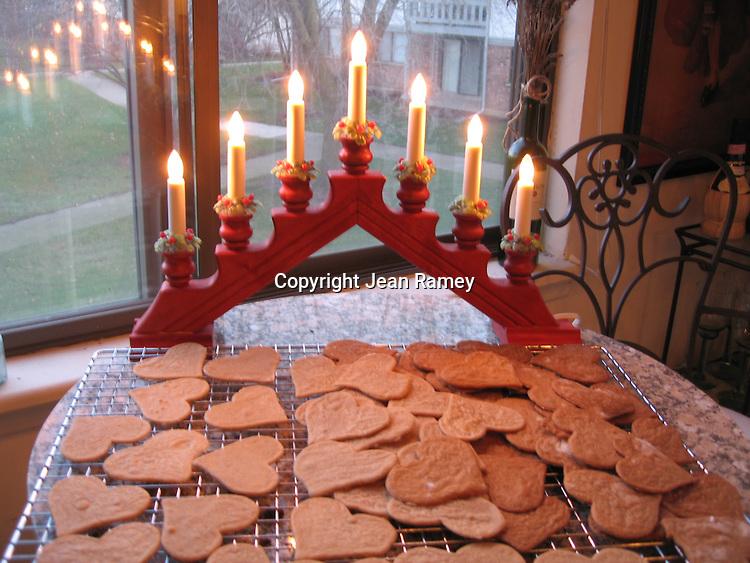 Swedish Pepparkakors and Christmas lights