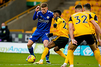 7th February 2021; Molineux Stadium, Wolverhampton, West Midlands, England; English Premier League Football, Wolverhampton Wanderers versus Leicester City; Harvey Barnes of Leicester City can not find enough space on the edge of the box