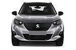 Car photography straight front view of a 2020 Peugeot e-2008 GT 5 Door SUV Front View