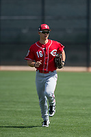 Cincinnati Reds right fielder Stuart Fairchild (16) during a Minor League Spring Training game against the Los Angeles Angels at the Cincinnati Reds Training Complex on March 15, 2018 in Goodyear, Arizona. (Zachary Lucy/Four Seam Images)