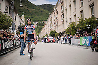 Sho Hatsuyama (JAP/Nippo-Vini Fantini) missing a leg at the race start of stage 6 in Cassino...<br /> <br /> Stage 6: Cassino to San Giovanni Rotondo (233km)<br /> 102nd Giro d'Italia 2019<br /> <br /> ©kramon