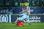 Jiangsu FC Forward Roger Beyker Martinez (R) fights for the ball with Adelaide United Defender Michael Marrone (L) during the AFC Champions League 2017 Group H match between Jiangsu FC (CHN) vs Adelaide United (AUS) at the Nanjing Olympics Sports Center on 01 March 2017 in Nanjing, China. Photo by Marcio Rodrigo Machado / Power Sport Images