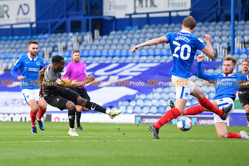 Fejiri Okenabirhie of Doncaster Rovers left has a shot on goal during Portsmouth vs Doncaster Rovers, Sky Bet EFL League 1 Football at Fratton Park on 17th October 2020