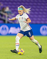 ORLANDO, FL - JANUARY 22: Julie Ertz #8 of the USWNT passes the ball during a game between Colombia and USWNT at Exploria stadium on January 22, 2021 in Orlando, Florida.