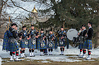 Mar. 4, 2015; The Notre Dame Bagpipe Band plays on Holy Cross Hill following the graveside services for President Emeritus Rev. Theodore M. Hesburgh, C.S.C. (Photo by Matt Cashore/University of Notre Dame)
