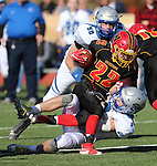 Pahranagat Valley's Shawn Wadsworth brings down Whittell's Corey Huber in the first half of the NIAA DIV championship game at Dayton High School in Dayton, Nev., on Saturday, Nov. 21, 2015. PVHS leads 30-6 at halftime. (Cathleen Allison/Las Vegas Review Journal)
