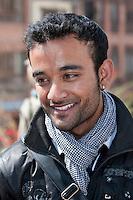 Bodhnath, Nepal.   Young Nepali Man at the Buddhist Stupa of Bodhnath.