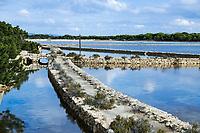 Salt Flats used in the production of sea-salt, Ses Salines, Formentera, Balearic Islands, Spain.
