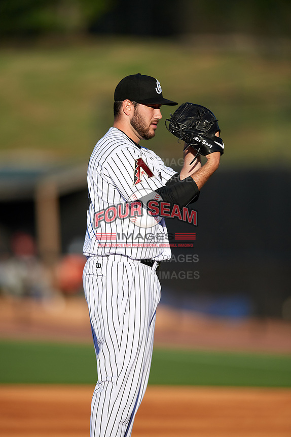 Jackson Generals starting pitcher Alex Young (16) looks in for the sign during a game against the Chattanooga Lookouts on April 27, 2017 at The Ballpark at Jackson in Jackson, Tennessee.  Chattanooga defeated Jackson 5-4.  (Mike Janes/Four Seam Images)