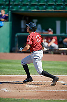 Vance Vizcaino (12) of the Idaho Falls Chukars bats against the Ogden Raptors in Pioneer League action at Lindquist Field on July 2, 2017 in Ogden, Utah. Ogden defeated Idaho Falls 6-5. (Stephen Smith/Four Seam Images)