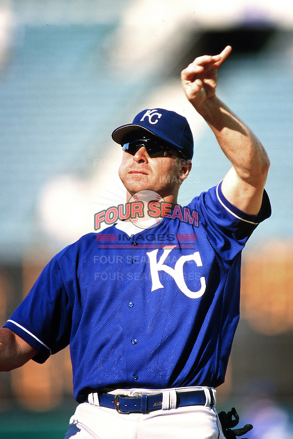 Jeremy Giambi of the Kansas City Royals during a game against the Anaheim Angels at Angel Stadium circa 1999 in Anaheim, California. (Larry Goren/Four Seam Images)