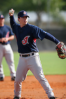 Cleveland Indians minor leaguer Shaun Larkin during Spring Training at the Chain of Lakes Complex on March 16, 2007 in Winter Haven, Florida.  (Mike Janes/Four Seam Images)