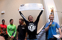 Chris Bertish  celebrates afer winning the 2010 Mavericks Surf Contest, Saturday, Feb. 13, 2010, Half Moon Bay, California.