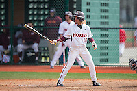 Saige Jenco (18) of the Virginia Tech Hokies at bat against the Toledo Rockets at The Ripken Experience on February 28, 2015 in Myrtle Beach, South Carolina.  The Hokies defeated the Rockets 1-0 in 10 innings.  (Brian Westerholt/Four Seam Images)