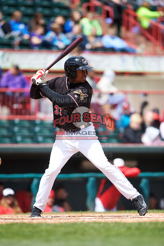 Erie Seawolves outfielder Wynton Bernard (36) at bat during a game against the Richmond Flying Squirrels on May 20, 2015 at Jerry Uht Park in Erie, Pennsylvania.  Erie defeated Richmond 5-2.  (Mike Janes/Four Seam Images)