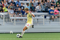 HARTFORD, CT - AUGUST 17: Erik McCue #4 of Charleston Battery passes the ball during a game between Charleston Battery and Hartford Athletic at Dillon Stadium on August 17, 2021 in Hartford, Connecticut.