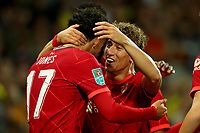 21st September 2021; Carrow Road, Norwich, England; EFL Cup Footballl Norwich City versus Liverpool; Kostas Tsimikas and Curtis Jones of Liverpool celebrate the goal by Divock Origi for 0-2 in the 50th minute